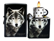 Zippo Lighter 28303 White Wolf Black Matte Classic NEW