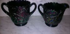 Vintage Fenton Blue Carnival Glass creamer and sugar bowl