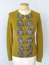 Boden Mustard Green Cotton Cashmere Cardigan Sweater Heavy Beading Sequins US 2
