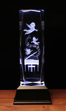 Cherubs Optical Crystal Laser Block Paperweight Engraved Gift boxed LED Base