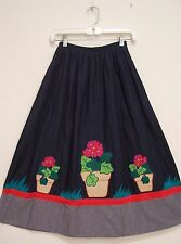 Vintage FLOWER POT APPLIQUE Blue DENIM Hippie Peasant Western Rockabilly Skirt S