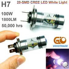 H7 6000K 100W LED 20-SMD Cree Projector Fog Driving DRL Light Bulbs 360 Degrees