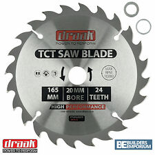 Draak TCT Blade Circular Saw 165mm x 20mm Bore 24 Tooth wood Makita Bosch