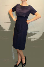 S NAVY BLUE PIQUE WEAVE VTG 50s EMPIRE APPLIQUE OVERLAY PINUP PENCIL SKIRT DRESS