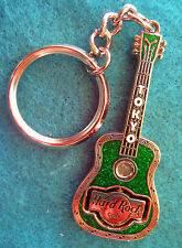 TOKYO JAPANESE GREEN ACOUSTIC GUITAR KEYCHAIN PIVOTING HRC LOGO Hard Rock Cafe