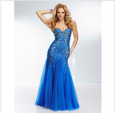 Crystal Mermaid Tulle Backless Long Prom Dresses Party evening Dresses custom