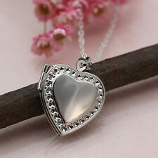 Silver Plated Love Heart Photo Locket Pendant Necklace Chain Mum Dad Girlfriend