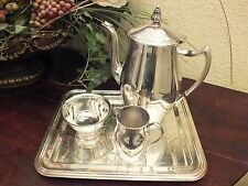 "Vtg F.B. Rogers Silver Co ""Paul Revere Reproduction"" Coffee Set w/ Rect. Tray"