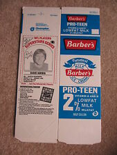 Flat 1986 Barbers  Milk Carton Seahawks Dave Kreig Unused Never folded