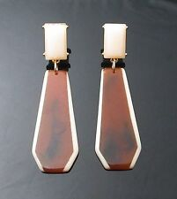 "ug vintage style brown earrings lady gaga type dangle jewelry 0.75""W 2.75""H NEW"
