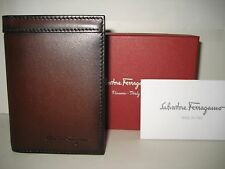 $320 NEW Salvatore Ferragamo Brown Nikos Leather Bifold ID Card Cash Case Wallet