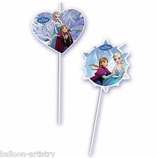 6 Disney's FROZEN Ice Skating Children's Party Illustrated Drinking Straws