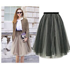 Fashion Women's All-match Organza Vintage Skirt High Waist Pleated Skirts Tutu