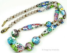 VTG 50'S MURANO VENETIAN PASTEL COLORS MILLEFIORI GLASS BEAD NECKLACE