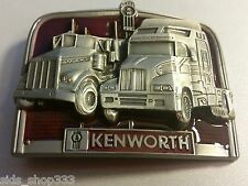 KENWORTH TRUCKS Pewter Finish Metal/Enamel BELT BUCKLE brake light red inlet
