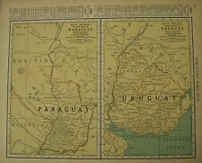 Antique 1929 Frameable Color Map Uruguay & Paraguay South America Plata River