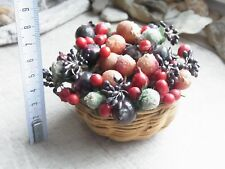 Schöner Obst-Korb mit Beeren Früchte für Puppenstube Kaufladen Puppen-Deko