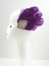 Purple Peacock Silver Rhinestone Feather Fascinator Hair Clip Vintage 1920s 595