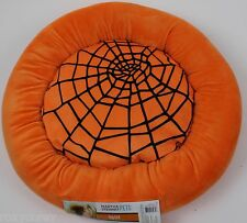 Martha Stewart Pets Round Orange Spider Web Bolster Small Dog Bed 20x20x5 NWT