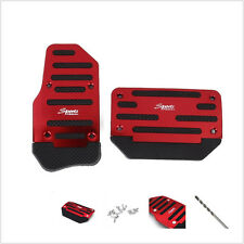 2x Nonslip Car Automatic Vehicle Accelerator Brake Foot Pedal Mat Pad Cover Red