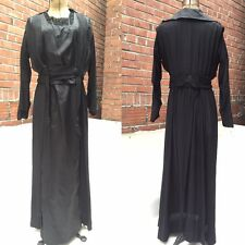 Antique Early 1900's Edwardian Black Mourning Dress Embroidered Beaded Sequin