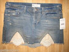 NEW✿ Free People MINI SKIRT S 6 DENIM JEANS SHORTS Lace detail $98 Retail