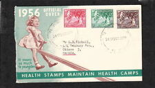 New Zealand Health Stamps 1956 Kids Fruit Tree Napier to Canada Cover Z91b