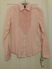 RALPH LAUREN PINK AND WHITE STRIPED L/S SHIRT/TOP/BLOUSE  WOMENS SZ X/S NWT