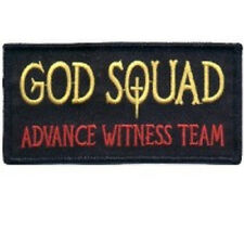 GOD SQUAD CHRISTIAN EMBROIDERED IRON ON BIKER PATCH