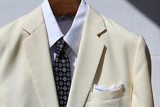 Bespoke 46S Gentleman's Cream / Ivory Wool Flannel 2-Button, 2-Vent Sport Coat