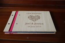 Personalised guest book, wooden guest book engraved customised wedding photo A4