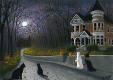 Halloween Victorian house ghost witch cats moon limited edition aceo print art