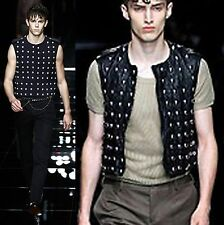 $4,795 Burberry Prorsum 52 Men Leather Stud L Vest Jacket Coat Holiday Gift NEW