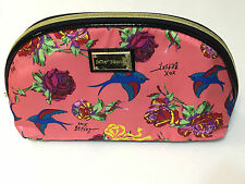 NEW BETSEY JOHNSON ZIP COSMETIC ROSE BIRD SPARROW MAKEUP BAG POUCH TOILETRY