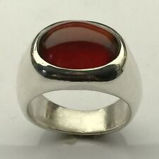 MJG STERLING SILVER 16 X 12MM HESSONITE GARNET CAB. RING. BEZEL SET. SZ 10 1/4