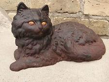 CAST IRON ANTIQUE VICTORIAN ORIGINAL SIGNED CAT DOOR STOP STATUE IRON ART.