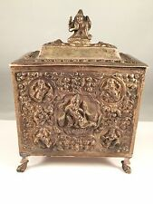 SUPERB LARGE ANTIQUE ASIAN SILVER BOX CHINESE THAI CAMBODIAN BURMESE 374.8 grams