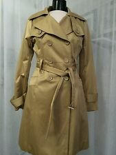 Bebe Gold Double-Breasted Front Polished Trench Coat Size Medium