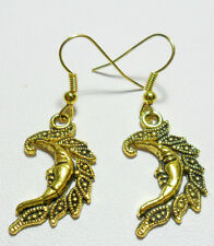 Colgantes pendientes-Pretty Oro Color Luna/Man-in-Moon