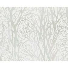 AS CREATION FOREST WOOD TREE METALLIC PEARL MOTIF EMBOSSED WALLPAPER GREEN WHITE