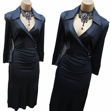 Karen Millen Black Jersey/Silk Wrap Style Shirt Cocktail Evening Dress 12 UK