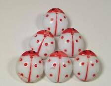 (6) VTG HP RED WHITE LADYBUG CZECH OR GERMAN Glass SELF SHANK Buttons NOS