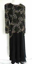 Silk Studio Morgan Taylor Dress Sequin Size 10 Black 100% Silk Long Sleeve