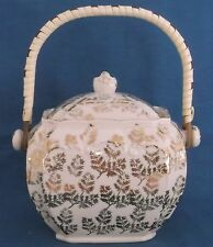 VINTAGE SADLER CUBE CREAM LOTS OF GOLD CHINTZ HANDLED BISCUIT BARREL
