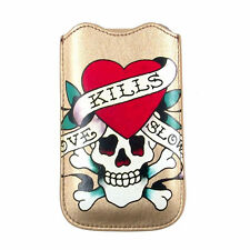 New Ed Hardy Leather Cell Phone Protective Sleeve w/Pull Tab, Love Kills Slowly