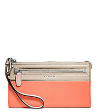 NWT Coach Legacy Colorblock Zippy Leather Wallet Wristlet 48176 SV/Coral/Lt Sand