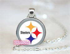 Pittsburgh Steelers NFL Football Chain Pendant Glass Cabochon Photo necklace