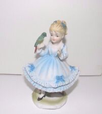 "Lefton Hand-Painted Figurine ~ Girl Holds Bird ~ Porcelain 5"" Tall KW 5340 Japan"