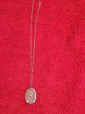 Antique Art Deco 14k White Gold Necklace With Oval Camphor Glass Pendant