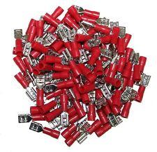 Lot de 100 cosses électriques isolées à sertir plates 4.75mm femelles rouge